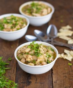 White Chicken Chili: I like to use 3 kinds of white beans, chicken broth, onions, chipotle peppers and fresh cilantro! Serve it with cornbread or good crusty bread. Yum!