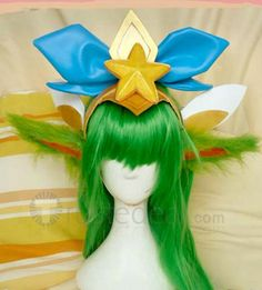 League of Legends Lulu Star Guardian Long Green Cosplay Wig 100cm and Accessories