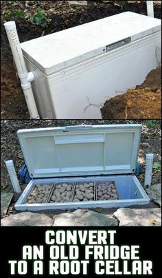 your own root cellar using an old refrigerator Preserve your produce without using electricity by converting an old refrigerator into a root cellar!Preserve your produce without using electricity by converting an old refrigerator into a root cellar! Outdoor Projects, Garden Projects, Old Refrigerator, Root Cellar, Homestead Survival, Camping Survival, Survival Food, Off The Grid, Sustainable Living