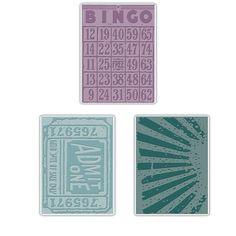 BRAND NEW - SIZZIX Embosing Folders (Set of 3) PLAYING GAMES SET - TIM HOLTZ #SIZZIX