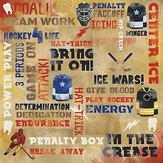 Karen Foster POWER PLAY COLLAGE 12x12 Scrapbooking (2) Papers HOCKEY