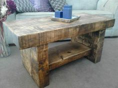 RUSTIC HAND MADE CHUNKY STABLE TV STAND (STRIPPED PINE)