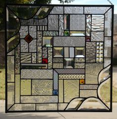 Contemporary Stained Glass Window Panel with Bevels and Jewels   eBay