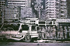 Black and white street art depicting a typical taxi rank scene in the heart of Johannesburg