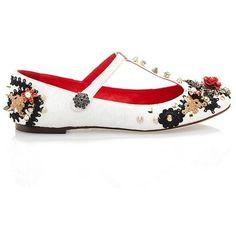 Dolce & Gabbana White Jacquard Embellished T-Strap Ballerina (€1.350) ❤ liked on Polyvore