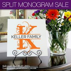 Flash Sale! The new Split Monograms from Uppercase Living are on sale right now! #OhMyWord Get yours at http://www.ohmyword.us/Monogram