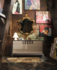 The ETERNITY commode and a baroque mirror by LA EBANISTERIA