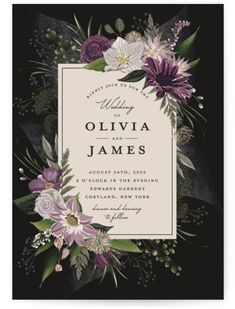 Hand Drawn Botanicals Surround The Wedding Details. Botanical, Purple Wedding Invitations From Minted By Independent Artist Susan Moyal. Plum INV.