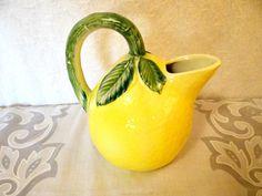 Vintage Lemon Pitcher, Lemon Yellow Pitcher, Italian Pottery, Kitchenware, Fruit Pitcher, Vintage Pottery, Ancora Pitcher on Etsy, $32.00