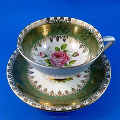 Pink Rose Center with Sage Green & Gold Design Royal Stafford Tea Cup & Saucer | Antiques, Decorative Arts, Ceramics & Porcelain | eBay!
