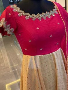 Gorgeous pink and peach color combination floor length dress with hand embroidery work on neckline. Ready to ship.To order whatsapp 12 September 2019 Pattu Saree Blouse Designs, Blouse Designs Silk, Bridal Blouse Designs, Lehenga Designs, Simple Gown Design, Long Dress Design, Long Gown Dress, Long Frock, Kalamkari Dresses