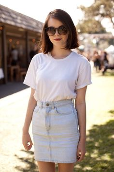 high waisted denim skirt and shirt