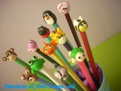 Fantasie di fimo e non solo - Animaletti che decorano le matite in fimo Fimo, Imagination