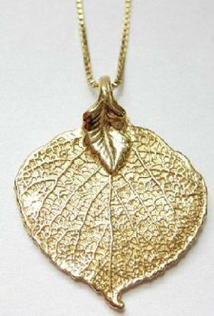 "Aspen Leaf Pendant - Necklace on 20"" chain - All Vermeil - 14k gold plate over sterling silver Silver Jewelry by JC. $72.99. Vermeil - 14k gold plate over sterling silver. Gift Boxed. This item is NOT a gold plated leaf - but sterling silver then plated in gold.. Made in USA. Stunning necklace - Made from Nature"