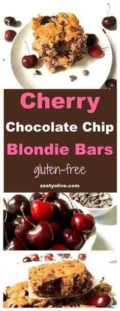 Cherry Chocolate Chip Blondie Bars Gluten-Free