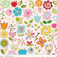 Laminierter Baumwollstoff, aus der Serie Sunny happy skies von Riley Blake. Der Hintergrung ist rosa.Die Blumen sind ca 3-8 cm groß . Du findest 1 we