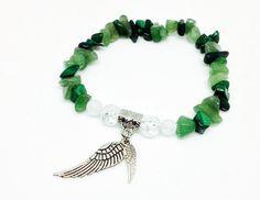 Malachite and Aventurine Bracelet, Angel Wing Bracelet, Angel Bracelet, Crystal Bracelet, Healing Jewelry, Reiki Jewelry, Malachite Jewelry