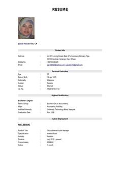 example of resume for job application