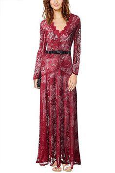 Burgundy Maxi Dress With Eyelash Lace Trim - US$29.95 -YOINS