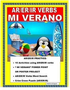 This interactive End of Year Lesson will allow you to have a fun project with your class. The lesson was to introduce AR/ER/IR verbs and combine it with a list of summer activities that your students will be engaging on during summer break. It is a great review of verbs and daily activities.