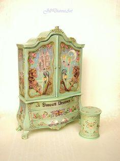 Hand-painted Sweet Dreams Baby Cupboard - Roses, Fairy, Rabbit, Rocking Horse, Butterfly, Castle - Jill Dianne Dollhouse Nursery Miniatures