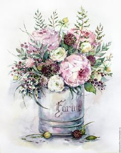 Such an elegant floral expression! And I LOVE the vintage feel it evokes! Art Floral, Watercolor Artwork, Watercolor Flowers, Flower Prints, Flower Art, Decoupage Vintage, Beautiful Flowers, Drawings, Vintage Flowers