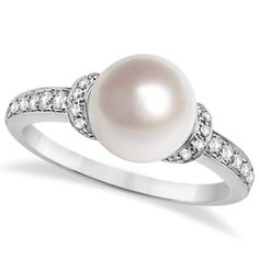 Solitaire Freshwater Cultured Pearl & Diamond Ring 14K White Gold 0.16ctw 8.00mm