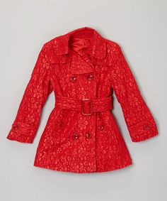 $45. Take a look at this Red Lace Belted Coat - Toddler & Girls by Sweet Charlotte on #zulily today!