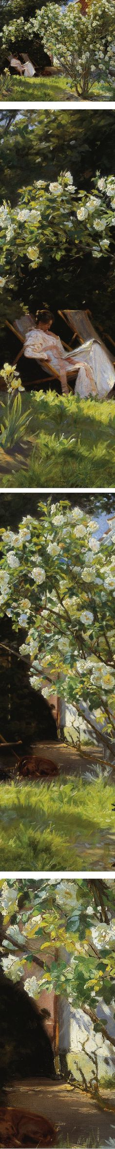 Roses. Marie Kroyer seated in the deckchair in the garden by  Mrs. Bendsen's house, Peder Severin Kroyer