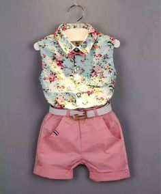 Summer style Baby Girl's Shirt Short Outfit Set
