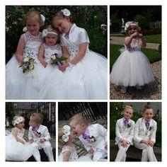 Een prachtige foto-collage van de bruidskinderen. 3 meisjes en 3 jongens, allemaal in ivoor kleurige bruidskinderkleding van Corrie's bruidskindermode in Terschuur. Op de jurken en in de bloemen heb ik paarse kralen geborduurd. En de jongens hebben alle 3 een licht paars overhemd met paarse strik of jabot. bruidskindermode.nl. Trouwen, bruiloft, huwelijk, kinderbruidsmode, kinderbruidskleding, bruidsmeisjes, bruidsjonkers, bruidsmeisjesjurk, bruidsmeisjeskleding, bruidsjonkerkleding,