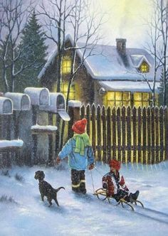 old christmas painting - Google Search