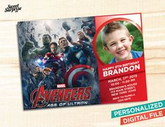 The Avengers Invitation - Age of Ultron - Photo Invitation - Printable / Digital File