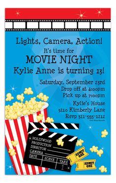 Movie night birthday invitation under the stars invitation outdoor movie night invitation stopboris Image collections