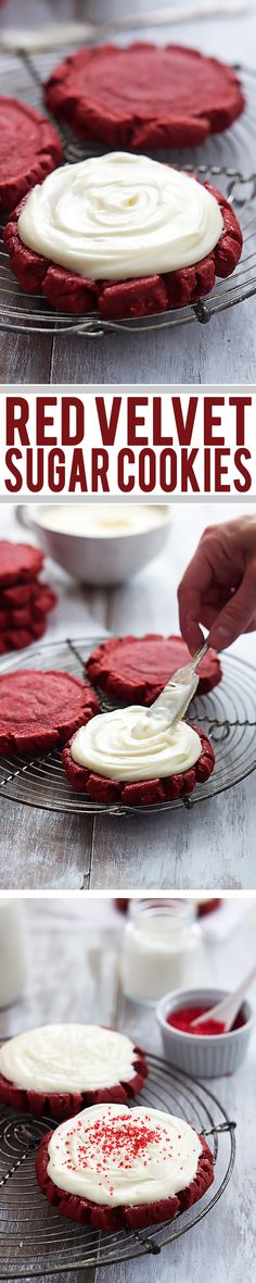 Make these yummy Red Velvet Sugar Cookies for Valentine's Day! See 25 of the best red velvet dessert recipes. Oreo Dessert, Brownie Desserts, Köstliche Desserts, Dessert Recipes, Yummy Treats, Sweet Treats, Yummy Food, Red Velvet Desserts, Sugar Cookies