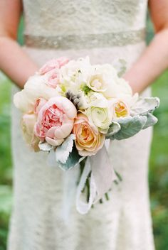 peony and dusty miller bouquet // photo by Jeff Loves Jessica // view more: http://ruffledblog.com/woodsy-wonderland-wedding
