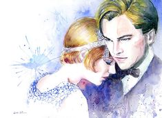 Watercolor painting - Great Gatsby from sookimstudio on Etsy. Saved to The Great Gatsby - the book, the movie, the style. Watercolor Drawing, Watercolor Paintings, The Great Gatsby Movie, Les Oeuvres, Art Sketches, Modern Art, Contemporary, Illustration Art, Etsy