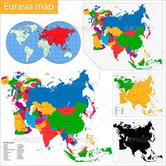 Eurasia Map #GraphicRiver Vector map of Eurasia drawn with high detail and accuracy. Eurasia is divided into countries which are colored with different bright colors. .AI and .EPS files divided into layers and sub-layers for easy manipulation. Also added .PSD file of colorful map of Eurasia. File divided into layers and sub-layers for easy manipulation. You can see the structure of the layers in the screenshot Filetypes: AI, EPS, PDF, JPEG (7000×7000 px), PSD, PNG transparent (4000×3400 px)…