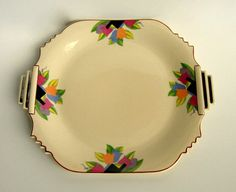 Platter Serving Tray: 1920s Architectural Art Deco Tulip Sienna Ware by Crescent China - RESERVED for Kyle