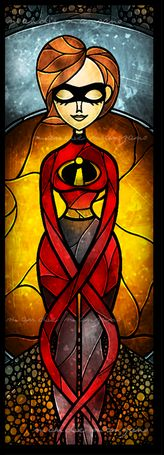 Stained glass Disney windows - Elastic Girl from Incredibles