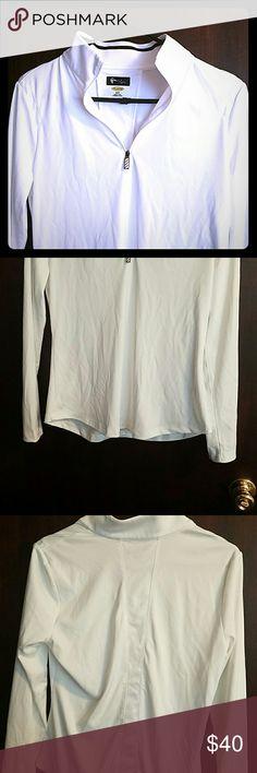 Ladies Greg Norman golf zip up White, long sleeved, halfzip, worn once. Greg Norman   Tops Sweatshirts & Hoodies