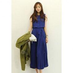 $16.91 Ruffled Chiffon Scoop Neck Sleeveless Refreshing Style Dress For Women