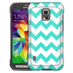 Samsung Galaxy S5 Active Chevron Turquoise White Slim Case