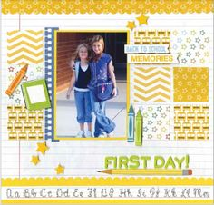 nice borders top & bottom for balance on this scrapbook page layout-- school layout School Scrapbook Layouts, Scrapbook Sketches, Scrapbooking Layouts, Scrapbook Cards, Scrapbook Paper Crafts, Picture Layouts, Back To School, School Days, School Stuff