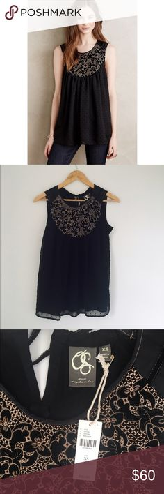 """Black Anthropologie Mari Tank NWT Super cute NWT anthropologie top. Gold sequin top detailing with a little velvet detail.Cotton knit front with polyester detail, rayon back Burnout velvet yoke detail Pullover styling Hand wash Style No. 4112211061264 Dimensions: Regular: 27""""L Petite: 25.25""""L Anthropologie Tops Tank Tops"""