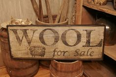 Here is a great antique looking Wool for sale sign with a sheep that is already made and READY TO SHIP. The sign is painted in layers of Primitive Signs, Primitive Crafts, Wood Crafts, Diy Crafts, Painted Signs, Wooden Signs, Rustic Signs, Antique Signs, Vintage Signs