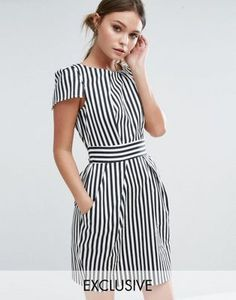 Closet London Stripe Print Short Sleeve Dress