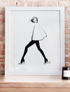 fashion illustration prints | black + white | 'my cape' | garance doré