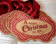 Kerstgroet in rode Vintage stijl Gift Tags/Hang Tags/Labels SET van 6-lint keuze beschikbaar