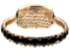 A Georgian era morning ring with dedication engraved under the bezel, c1820